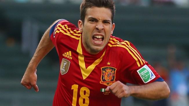 Jorgi Alba fez dois dos três na vitória espanhola sobre a Nigéria. Foto: Getty)