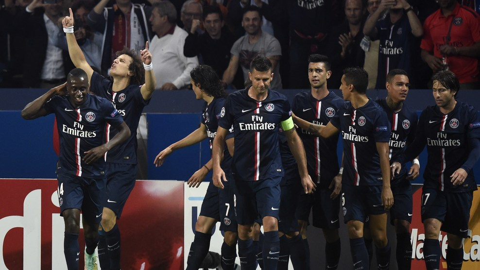 David Luis comemora seu primeiro gol com a camisa do PSG. (Foto: Getty Images).