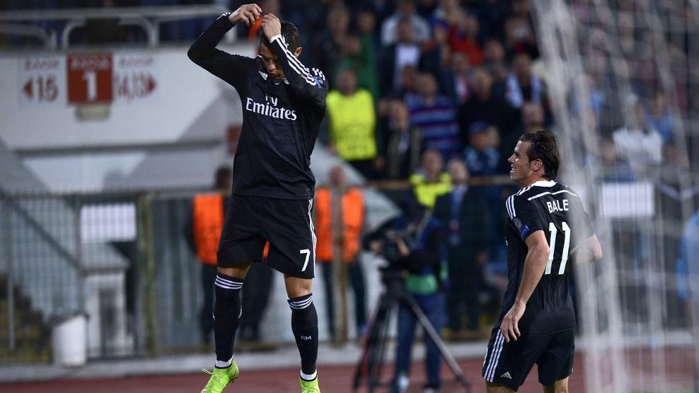 Cristiano Ronaldo comemora o gol de empate diante do Ludogorets, marcando seu 69º gol na história da Champions, ficando a apenas dois de Raul o maior artilheiro da competição. (Foto: Gatty Images)