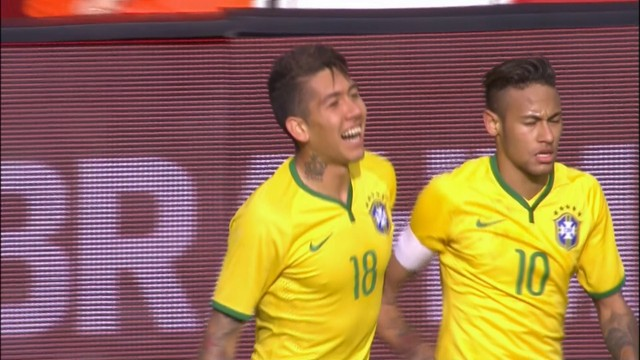 Firmino comemora mais um gol com a camisa brasileira. (Foto: Reprodução)