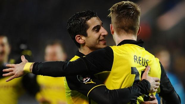Marco Reus e Robert Lewandowski brilham em vitória sobre o Zenit. A dupla do Borussia Dortmund ajudou foram fundamentais no resultado de  4 a 2 em pleno Estádio Petrovsky, nesta terça-feira, pelas oitavas de final da Champions League, abrindo grande vantagem no duelo. (Foto: Getty)