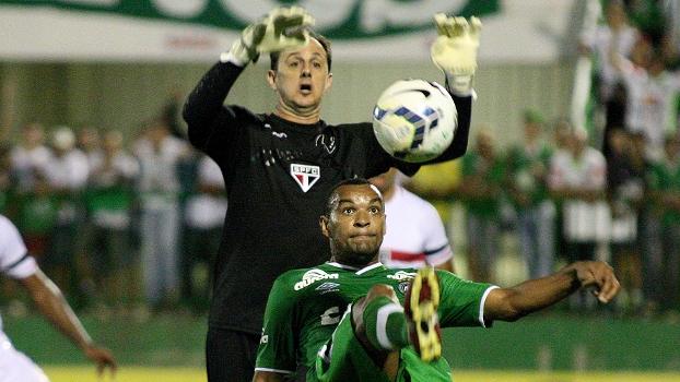 Rogério Ceni divide bola com atacante da Chapecoense. (Foto: Gazeta Press).