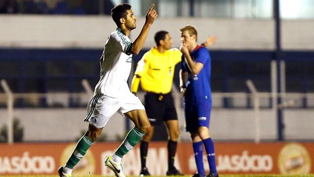 Alan Kardec comemora o seu quarto gol com a camisa do Palmeiras. Foto: Leandro Martins / Agencia estado