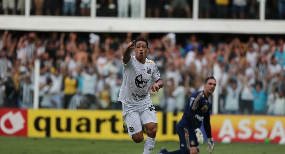Artilheiro do campeonato, Ricardo Oliveira comemora o segundo gol do Santos (Foto: Danilo Verpa/Folhapress)