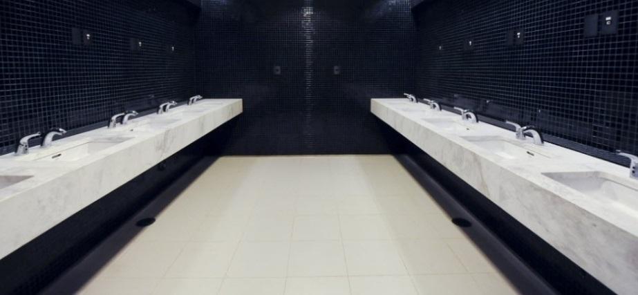Detalhe do banheiro da Arena Corinthians