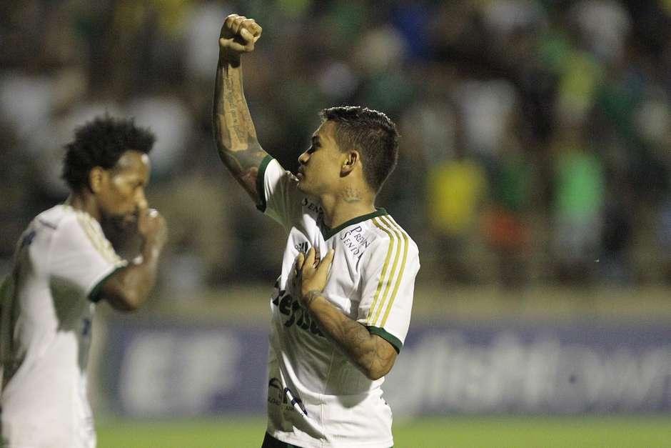 Dudu comemora o primeiro gol pelo verdão. Foto: Reginaldo Alves de Castro / Gazeta Press