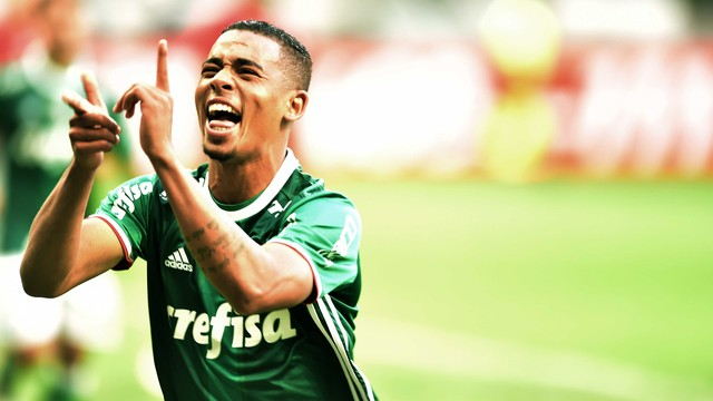 Gabriel Jesus comemora um de seus gols. Foto: Marcos Ribolli