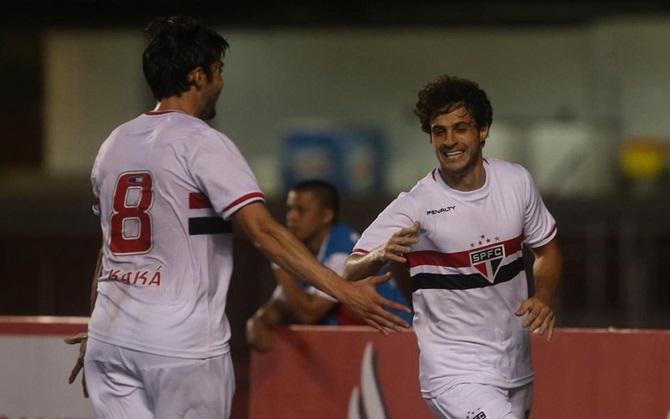 Hudson marcou seu primeiro gol com a camisa do São Paulo. (Foto: Rubens Chiri SPFC)