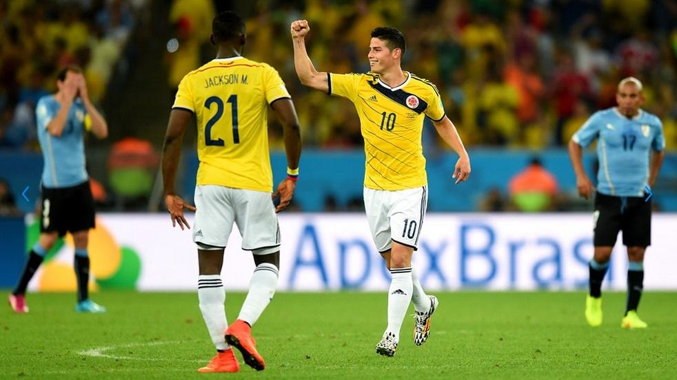 James Rodrigues fez dois e deu vaga a Colômbia as quartas de final. (Foto: Getty)