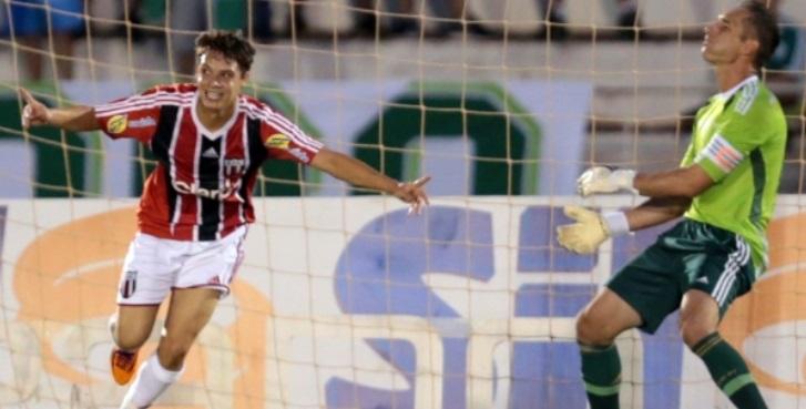 Mike comemora um dos gols do Botafogo sobre o gol de Prass. (Foto: Thiago Calil / Photopress)
