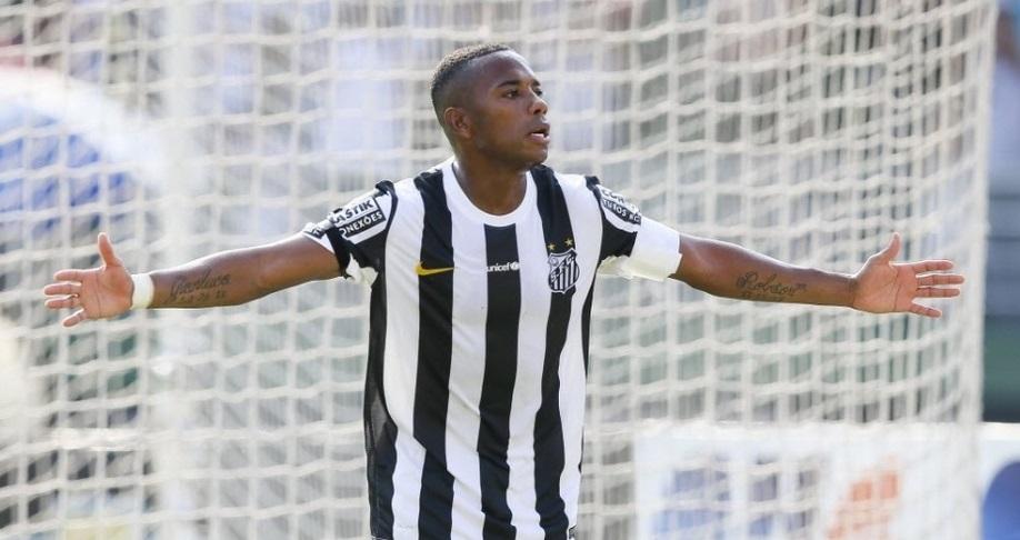 Robinho comemora um dos gols da partida diante da Lusa. (Foto: Rubens Cavallari / Folha Press)