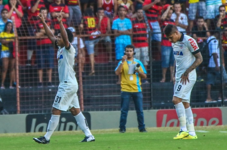 Romarinho comemora o primeiro gol do Corinthians contra o SPORT. Foto: CARLOS EZEQUIEL VANNONI/Agência JCM/FOTOARENA/ESTADÃO CONTEÚDO Leia mais em: http://zip.net/bynvLS)