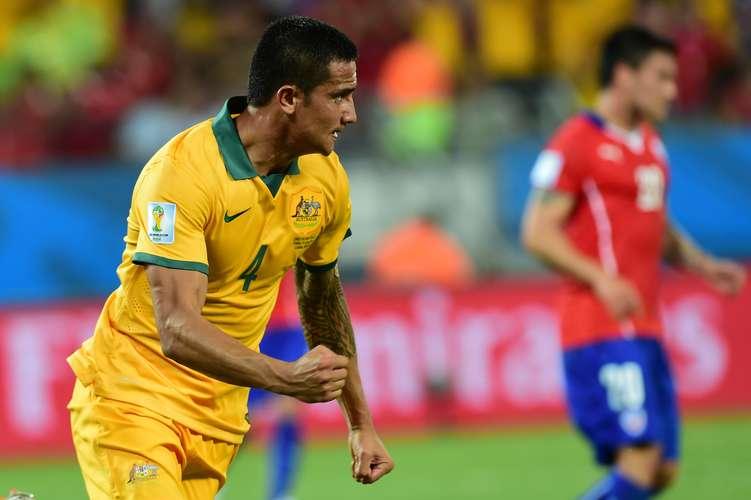 Tim Cahill foi o melhor australiano em campo. Foto: AFP