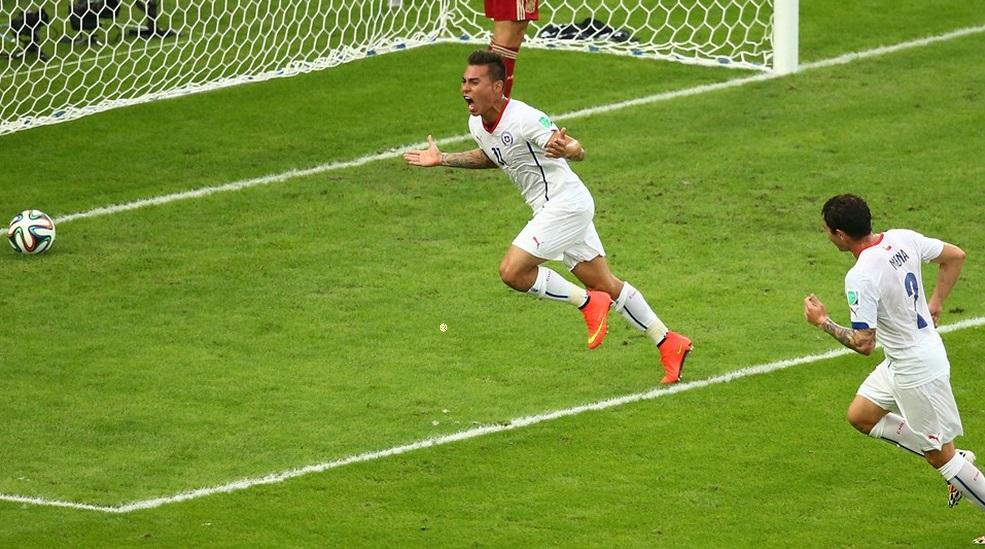Vargas comemora gol que abriu o placar para o Chile. (Foto: Getty)
