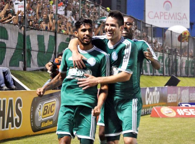 Zagueiro Vilson comemora o segundo gol do verdão. Foto: Foto Arena