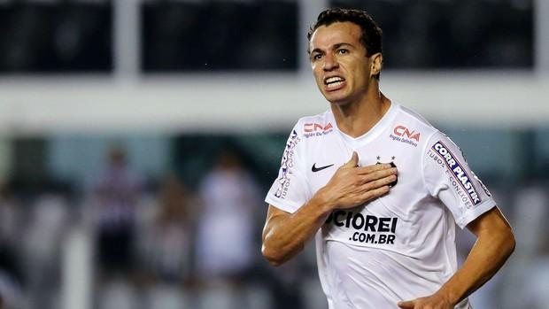 Leandro Damião comemora gol depois de cinco meses na Vila. (Foto: Leandro Martins / Futura Press)