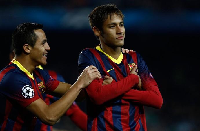 Nova comemoração de Neymar: atuação de gala do brasileiro na goleada sobre o Celtic (Foto: AFP)