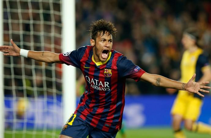 Neymar voltou a marcar contra o Atlético de Madrid. (Foto: AP)