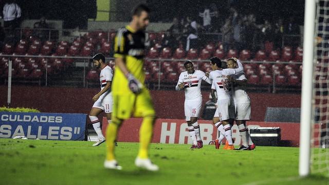 Jogadores do São Paulo comemoram segundo gol. (Foto: Marcos Riboli)