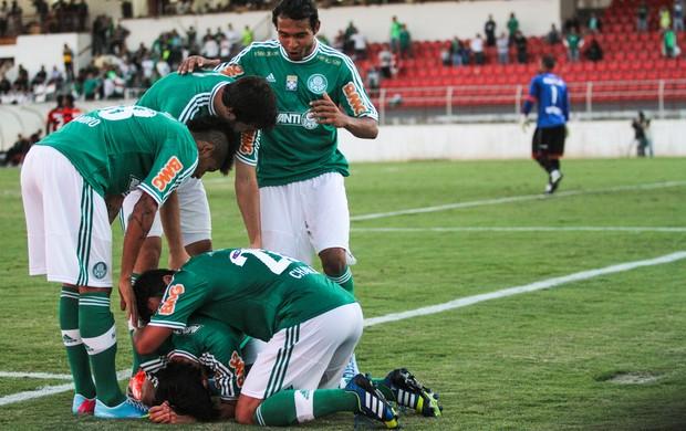 Jogadores do verdão comemoram o gol da vitória. Foto: Andre Montejano / AE